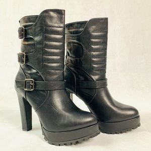 JUSTFAB • Black Vegan Faux Leather Ankle Moro Boot